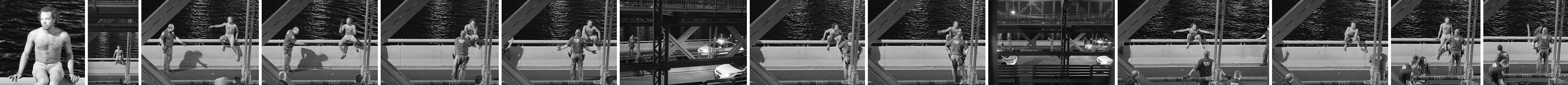 Photo series of man on railing of Williamsburg Bridge, arguing with police, eventually jumping off.