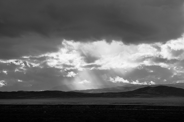 Rain and sunlight near Lovelock, Nevada.